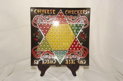 "Two's Company 9.75"" Square Glass Chinese Checkers Platter"