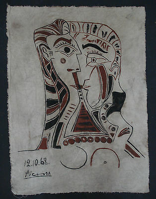 Pablo Picasso   Oil Painting On Original Old Canvas  - Large Format -