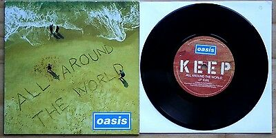 """Ex/ex! Oasis All Around The World / The Fame 7"""" Vinyl 45 (Cre 282)"""