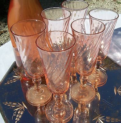 Vintage French Wine Glasses Pink Champagne Flutes stem twisted Glass