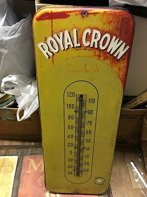 RC Royal Crown 1940's era RARE Mustard Yellow Thermometer