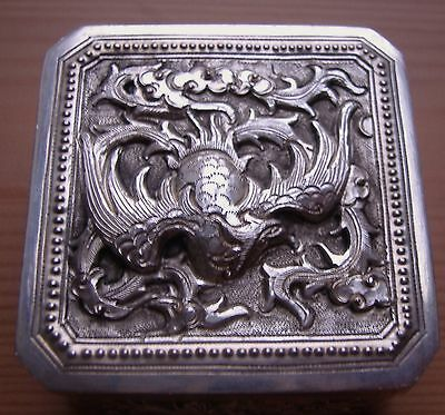 Chinese vintage small silver box with images of Phoenix, Dragon, Horse, Turtle