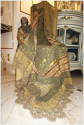 GORGEOUS ANTIQUE FRENCH LACE THROW for TABLE CHAIR TRUNK CHEST BED or DRAPE