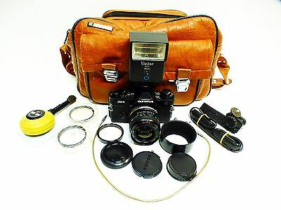 Olympus OM4 Black Film Camera with Lens, Flash +++ Good