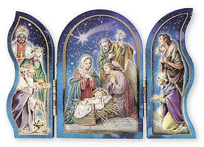 Christmas Blessings WOOD NATIVITY / KINGS Triptych Plaque Gold Foil Highlights