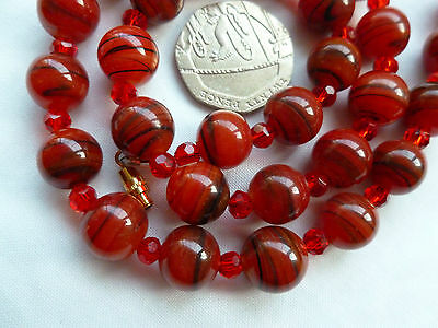 Antique Art Deco Banded Carnelian Glass Bead Necklace