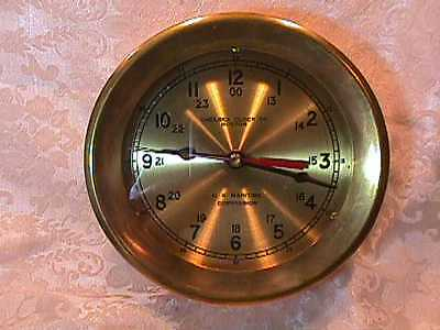 """Chelsea Ships """"bell Clock"""" 7"""" In Brass Us Maritime Commission"""