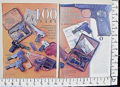 2000 100 YEARS ~ THE FN BROWNING 1899 & 1900 PISTOLS 5-Pg MAGAZINE ARTICLE 3145a
