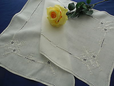 Vintage Italian Reticella Linen Runner with Hemstitching