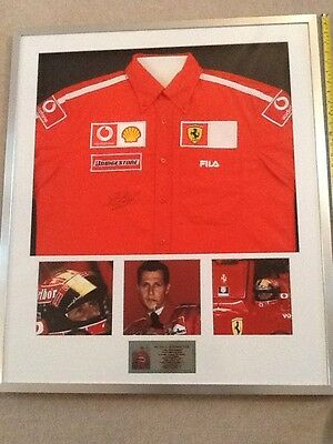 Michael Schumacher Hand Signed Framed F1 Ferrari Team Shirt With COA Grand Prix