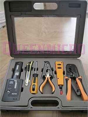 NEW 10-Piece PC PRO Network LAN Cable Tester Punch Down Crimp Tool Kit w/ Case