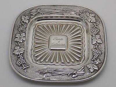 Vintage Solid Silver Beautiful Decorated Candy Flat Bowl Dish- Stamped - Italian