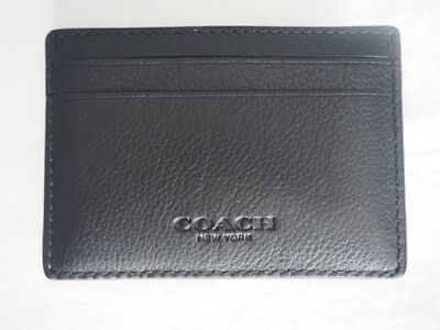 NEW COACH Mens Leather Slim Money Clip Credit Card Case Holder F75459 Black