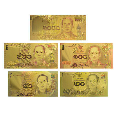 Gold banknote Rare Thailand Set 20.50.100.500.1000 Paper Money Plated Colour