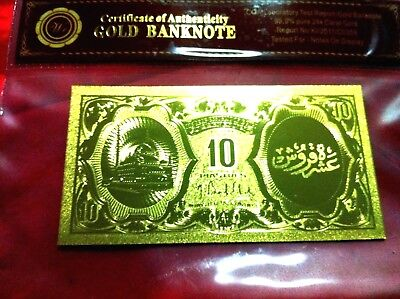 Egypt 10 Piastres Banknote 24Kt Gold  999.9 Gold Bank Note