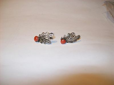 Vintage Sterling Silver    Wing   Earrings With Coral  Set Bead Screwback