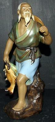 Vintage Chinese Shiwan Mud Man 12cm Man Carrying Fish