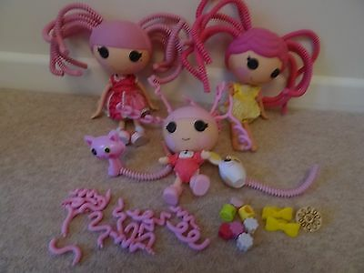 Lalaloopsy dolls x 3with few hair accessories bundle