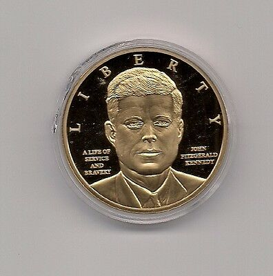 JOHN F KENNEDY 50th Anniversary Gold Plated Commemorative Coin.