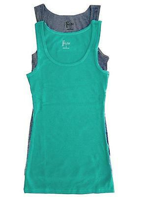 NIB Felina Women's Fine Ribbed 2 Pack Knit Tank Tops Green/Charcoal Select M L