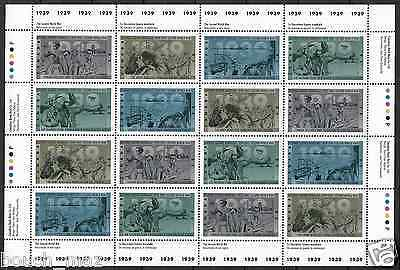 Canada Stamps — Full Pane of 16 — Second World War -1939 — #1260-1263 — MNH