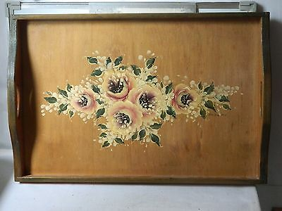 Vintage Beautifully H/ Painted Floral Large Wooden Serving Tray