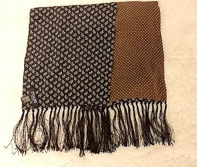 Authentic Designer Drake's London Silk Scarf Paisley Dot Navy Brown Handmade!