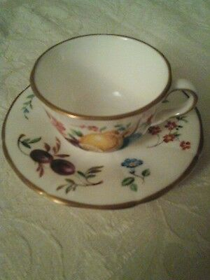 Royal Worcester miniature cup and saucer   Cut Fruit White pattern
