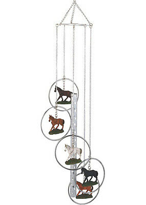 Horses Polyresin 5-Ring Wind Chime