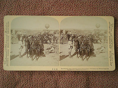 South Africa War LORD ROBERTS' ARMY ADVANCING & BALLOON CORPS STEREOGRAPH CARD