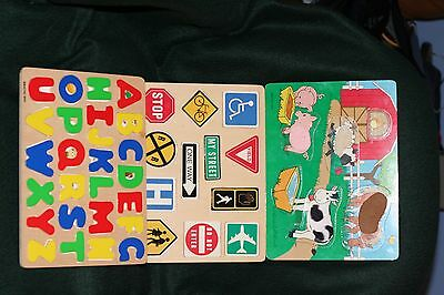 Childrens  battat wooden puzzles lot of 3