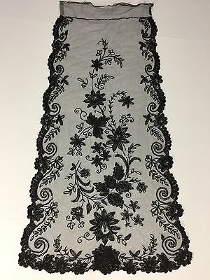Victorian Ornate Antique Black Jet Glass Beaded Tulle Panel Trim Large 33 x 30