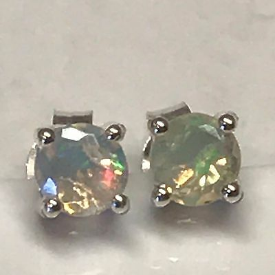 Natural Pink & Green Ethiopian Opal 925 Solid Sterling Silver Stud Earrings 4mm
