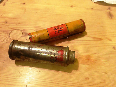 Vintage classic motor car cycle Dunlop Vulcafix patch strip and dusting powder.