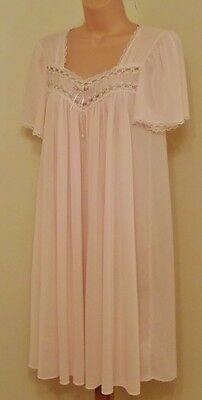 H50 Vtg Miss Elaine Sheer Silky Pink Antron Nylon Nightie S/m 10 12 14 40""