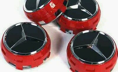 MERCEDES AMG STYLE RED WHEEL CTR CAPS 75MM FITS A B C E SLK + 4 Free Bose Badges