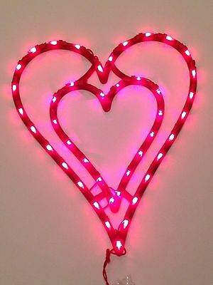 NEW 43 Super Bright Light Valentines Day Double Heart Window/Wall Decoration