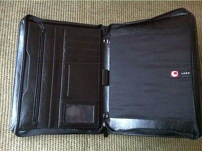 +5. LEEDS Faux Leather Black Zippered  Portfolio Organizer