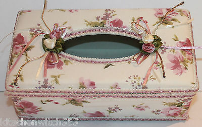 Tissue Holder Box Cover Pink Cream Floral Fabric Plastic Vanity Bathroom Vintage