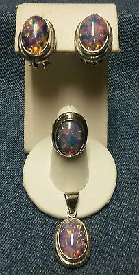 Opal Glass and 925 Mexico Ring, Pendant and Earring Set