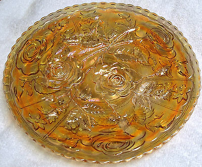 """Vintage Imperial Carnival Glass Open Rose Marigold 9"""" Plate"""