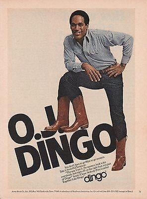 Vintage 1980 O.J. Simpson for Dingo Western boots print ad   Great to frame!