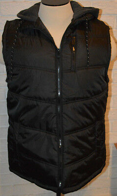 Men's Carbon Black Sleeveless Full Zip Hoodie Puffer Vest Sizes M, L, XL
