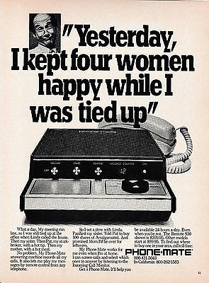 Vintage 1980 Phone-Mate Remote 930 answering machine print ad   Great to frame!