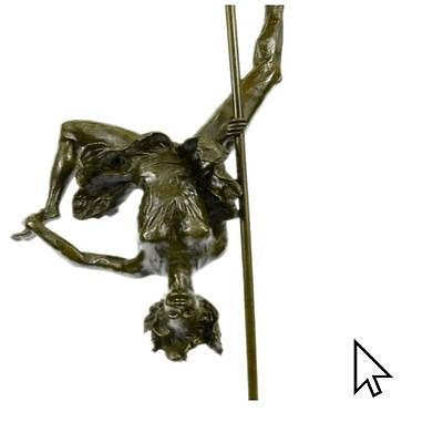 Large Modern Bronze Sculpture Nude Acrobat Girl Abstract Figure Marble Base A