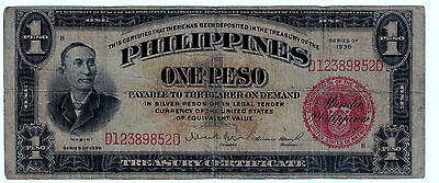1936 (ONE PESO )  (SILVER CERTIFICATE) RED (PHILIPPINES- US) --Wartime---