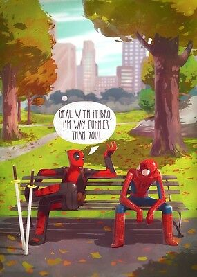 DEADPOOL AND SPIDERMAN COMIC ART IMAGE A4 Poster Gloss Print Laminated