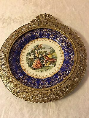 Vintage Decorative Salad Plate Victorian Couple with metal frame