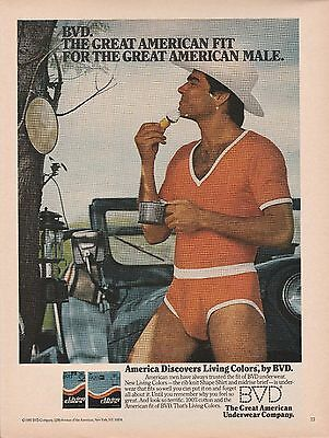 Vintage 1980 BVD underwear gay cowboy  print ad   Great to frame!