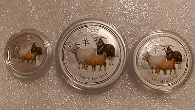 """Australian Lunar II """"Year of the Goat""""( Coloured ) 2015, The set of Silver coins"""